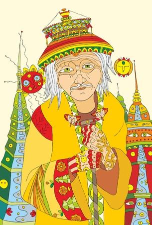toog: De grijze oude man in een geel soutane, een grillige hoed en een staf in handen