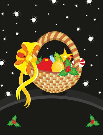 gift basket: Basket with Christmas gifts Illustration