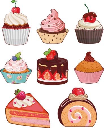 porcion de torta: Conjunto de pasteles apetitosos con bayas diferentes y rellenos