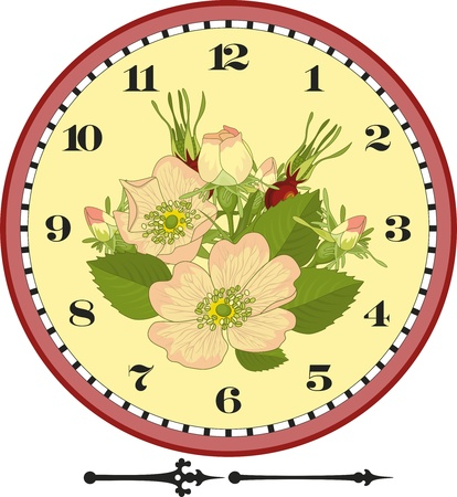 Clock dial with a dogrose branch