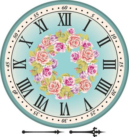 reloj antiguo: Dial del reloj retro con los números romanos y las rosas de color rosa