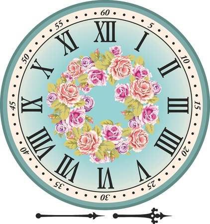 vintage clock: Retro clock dial with the Roman figures and pink roses Illustration