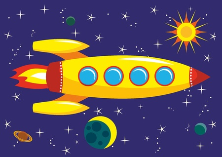 The flying yellow rocket in space Vector
