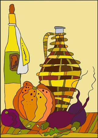 stilllife: Still-life with bottles, a pumpkin and a beet