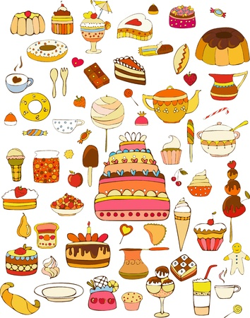 Set of vector sweets on white background