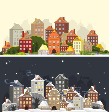Two images of one city landscape in summer and winter time Illustration