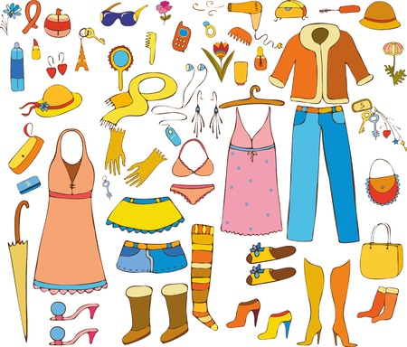 skirts: Set of female things and subjects on a white background