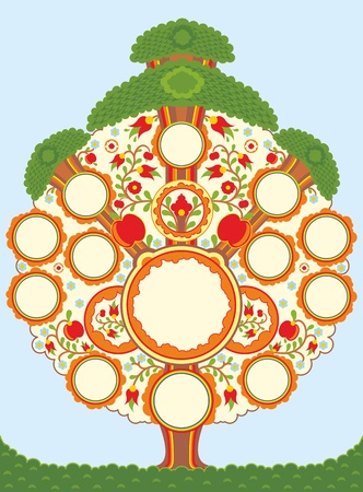 The stylised tree with a place for photos of members family Stock Vector - 13383452