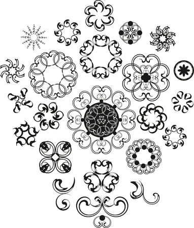 set of vector decorative vintage flover pattern Stock Vector - 13383442