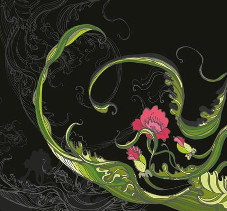twirled: Papavero Rosso a roteare da foglie su sfondo nero Vettoriali