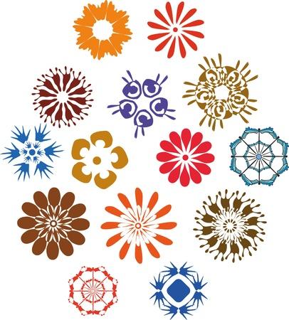 Conjunto de signos multicolores flores
