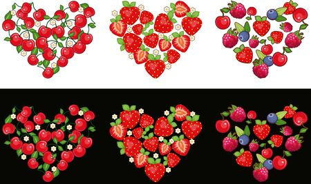 Set of hearts made of fruit and berries on a white and black background Vector