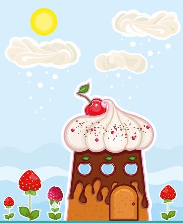 casita de dulces: fant�stica casa en la forma de un pastel y algunas nubes de una crema en el cielo Vectores
