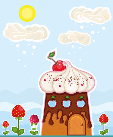 fantastic house in the form of a cake and a clouds of a cream on sky  Vector