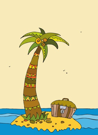 Small island at ocean with a palm tree and a chest Vector
