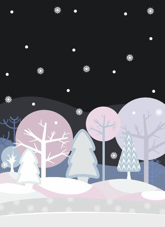 Card with night winter wood Stock Vector - 13383433