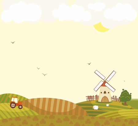Rural landscape with a tractor in the field, a windmill and sheep