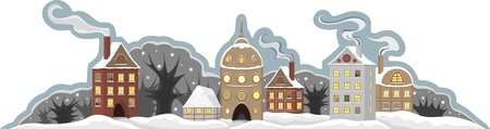 Winter small town on a white background Vector