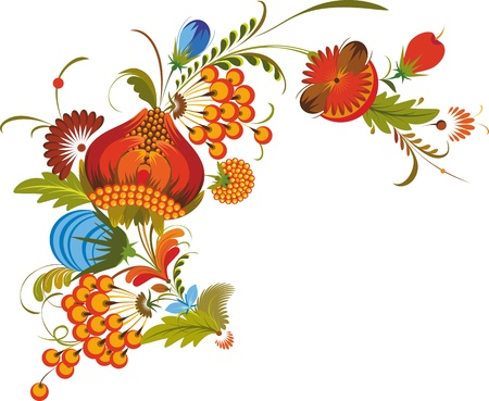 Bouquet of bright multi-coloured flowers in national style Stock Vector - 13383431