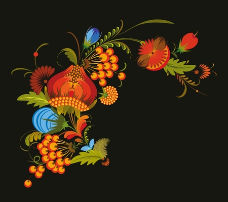 Vector bunch of flowers on a black background Stock Vector - 13383430