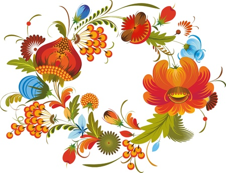 wreath out of bright flowers on a white background in national style Illustration