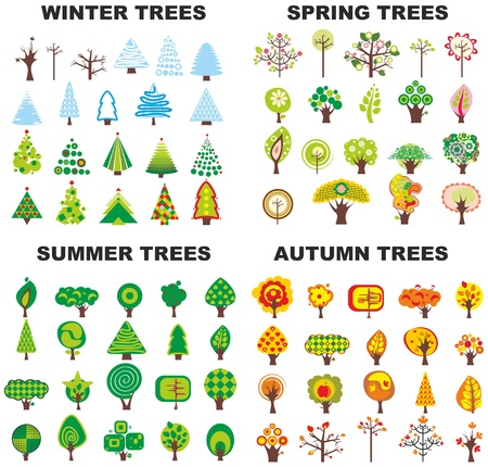Set of trees located on seasons Illustration