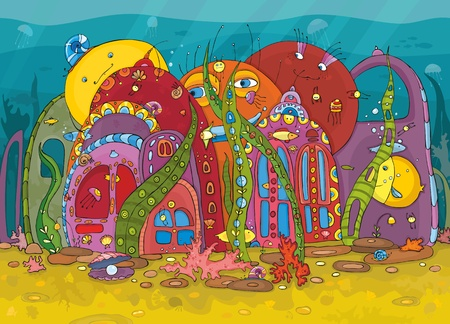 The fantastic underwater world on coral reef with freakish beings Vector