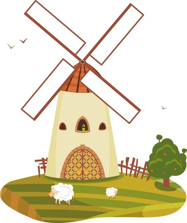 appletree: Rural landscape with a windmill an apple-tree and sheep