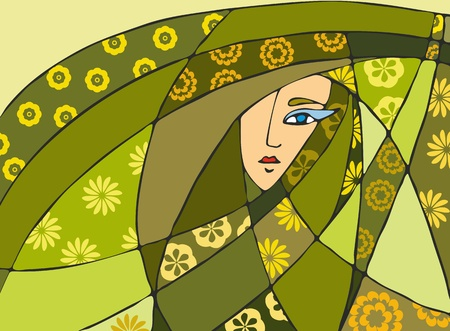 abstract portrait: Abstraction with a girls face Illustration