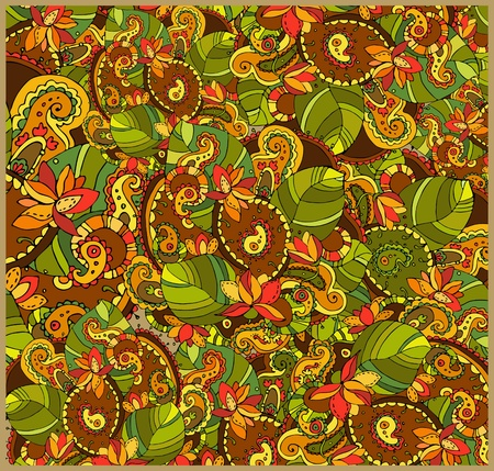 Bright background with diverse leaves and flowers Illustration