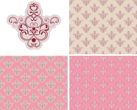 Elegance seamless backgrounds with 3 color combinations and element isolated  on white Stock Vector - 13487369