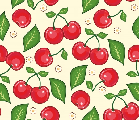 Red cherries with green leaves on a yellow background. Seamless vector background Illustration