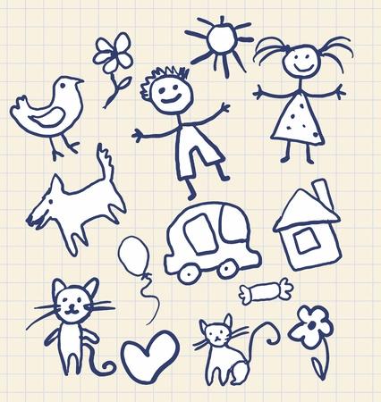 Enfants dessin dans un carnet Vecteurs