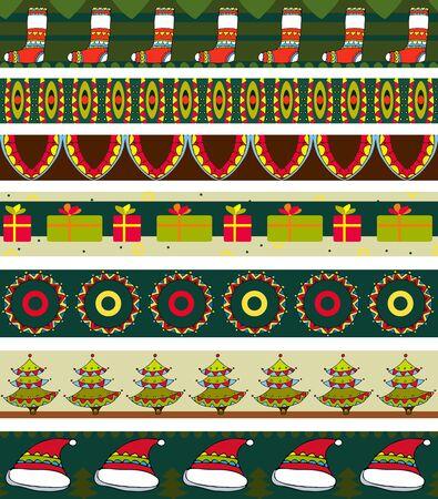 burgundy ribbon: Set di strisce con un ornamento di Natale