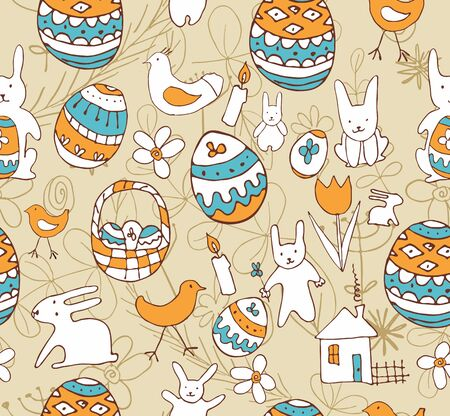 Seamless background with a childrens scribble of a hare, egg, chicken, flowers, houses Vector