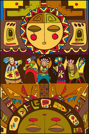 shaman: Ethnic background with the sun and people