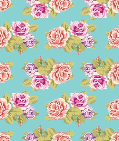 papel tapiz turquesa: Patr�n de papel tapiz transparente con rosas de color p�rpura y rosa sobre fondo azul turquesa, ilustraci�n vectorial