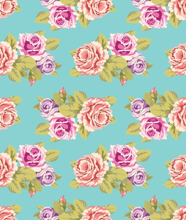 Seamless wallpaper pattern with of purple and pink roses on turquoise background, vector illustration Vector