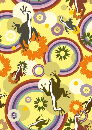 creeping: Seamless vector background with creeping frogs and different flowers