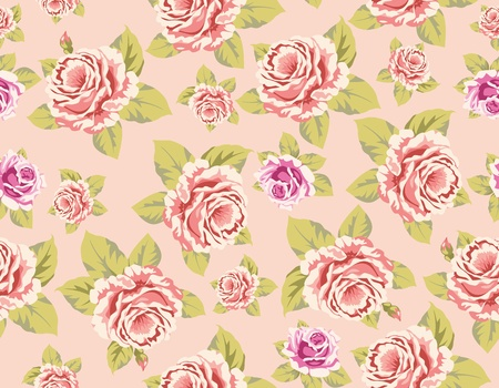 Seamless wallpaper pattern with of pink roses on yellow background, vector illustration Illustration
