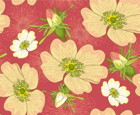 Beautiful pink  brier  flowers on a crimson background. Seamless wallpaper pattern. Vector