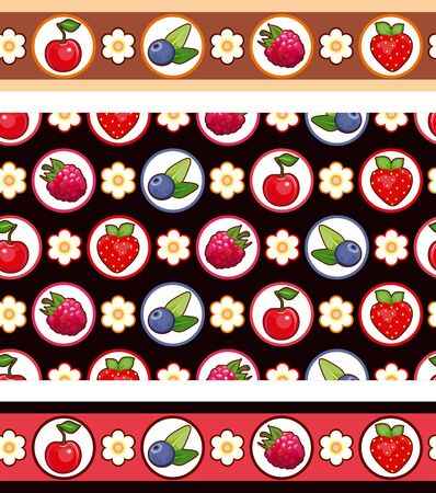 bilberry: Seamless background with different berries: strawberry, raspberry, bilberry, cherry, on a black background. Two seamless ornamental strips.