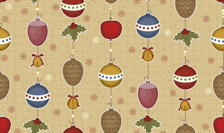 Christmas and New Year seamless pattern without a seam c fur-tree toys, bells and strobiles hanging down on threads Vector