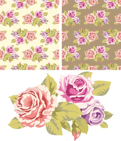 Seamless backgrounds with roses and isolated on white a bouquet of roses Vector
