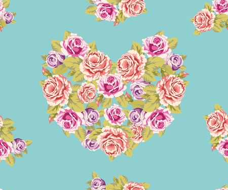 motton: Seamless background with heart made of roses on a turquoise background Illustration