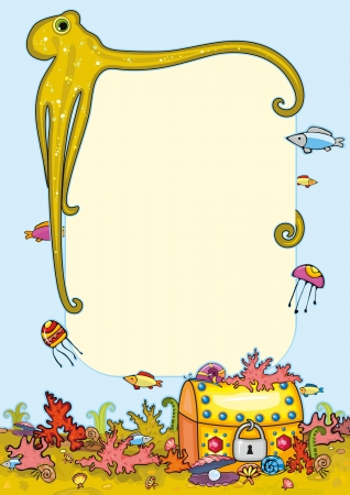 Frame with underwater bottom   octopus, gold chest, fish, coral reef, shell Vector