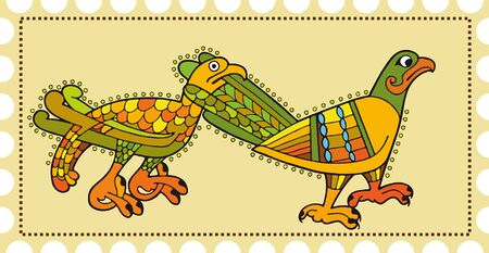 Postage with two going birds  One bird a beak holds another for a tail Stock Vector - 13823040