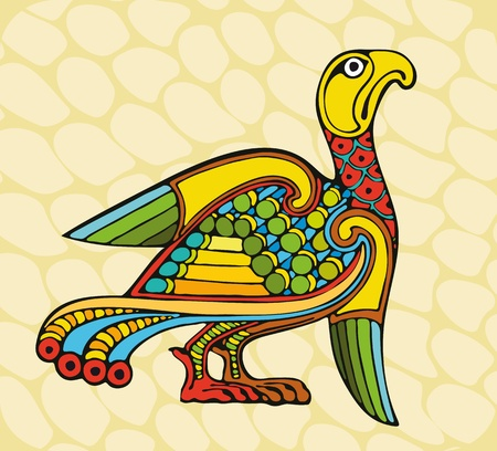 multi ethnic: The stylised iridescent bird with the straightened wings Illustration