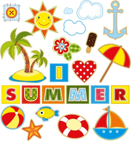 Summer set of stickers made of a fabric Vector