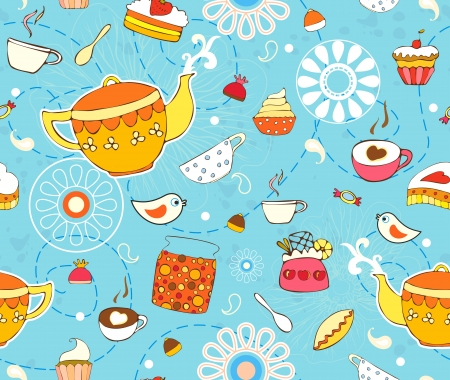 Seamless background with a teapot, cups and cakes